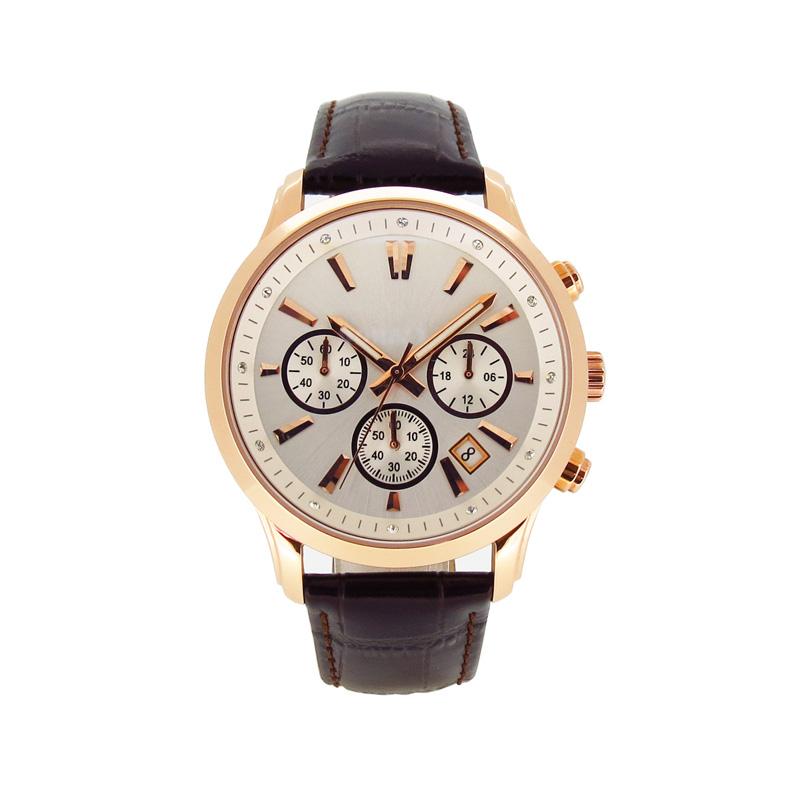 稳达时不锈钢配真皮表带手表定做工厂