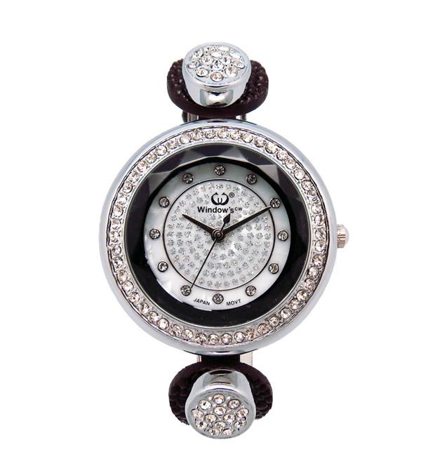 合金镶钻女士皮带礼品手表批发厂家【稳达时钟表】