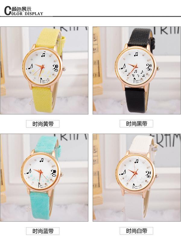 手表批发厂家供应音符女士可爱学生手表批发【稳达时钟表】